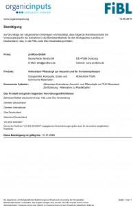 Konformitaetserklaerung FiBL Betriebsmittelliste - Kokosfaser Pflanztopf - ProFlora GmbH - 12-09-19