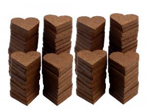 Kokosfaser Herzen im 100er-Set
